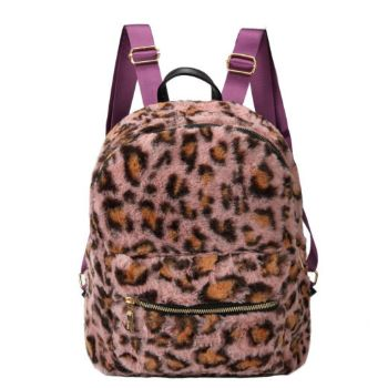 Faux Leopard Fur Backpack - Pink